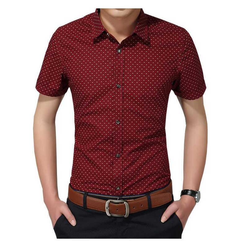 2019 wiosna koszula na co dzień mężczyźni wysokiej jakości męskie koszulki sukienki koszula męska bawełna mężczyźni społecznego koszula mężczyzna Polka Dot Plus rozmiar 5XL