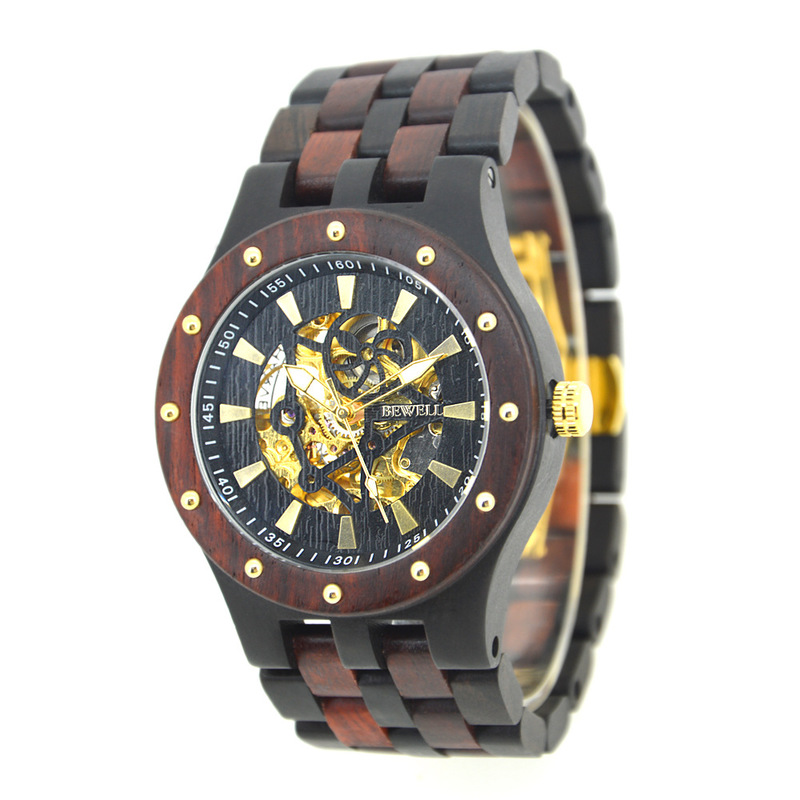 2020 New Rushed Bewell Watches Men Cross-border Automatic Mechanical Watch Waterproof Machinery Wood Male Table
