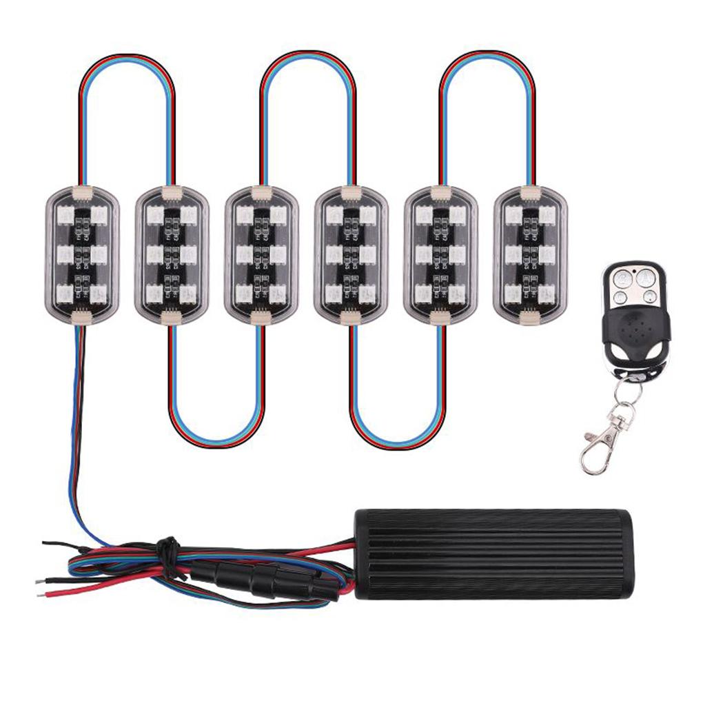 Car Atmosphere Light 6 RGB LED Motorcycle Wireless Remote Control Neon Lighting Moto Decorative Strip Lamp