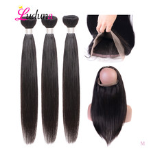 Luduna 360 Lace Frontal With Bundle Peruvian Straight Hair Weave Bundles 3 Bundles With Frontal Closure Remy Human Hair(China)