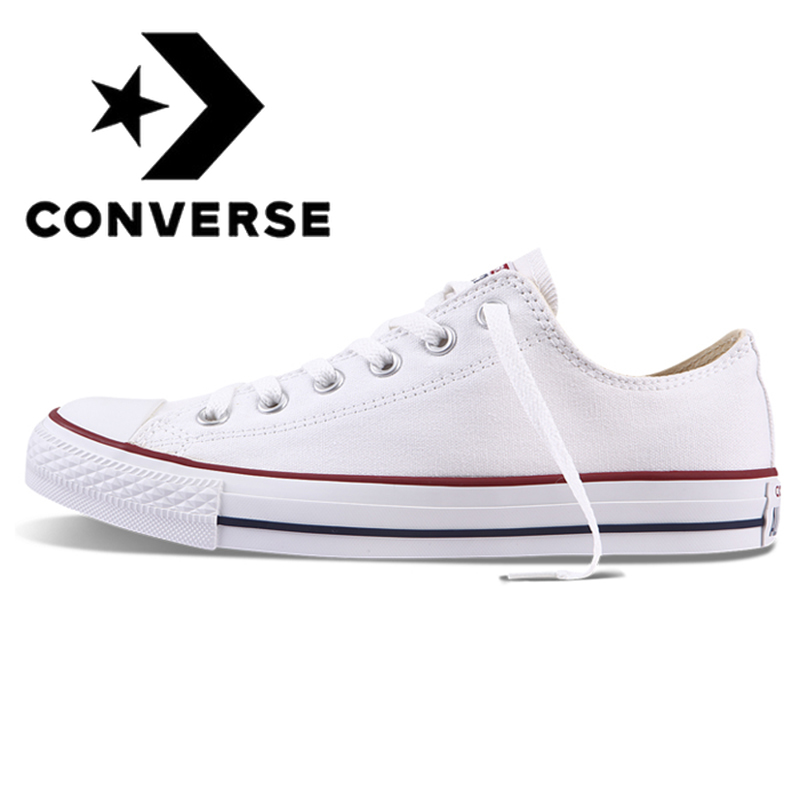 Original Authentic Converse ALL STAR Classic Unisex Skateboarding Shoes Low-Top Lace-up Durable Canvas Footwear White 101000