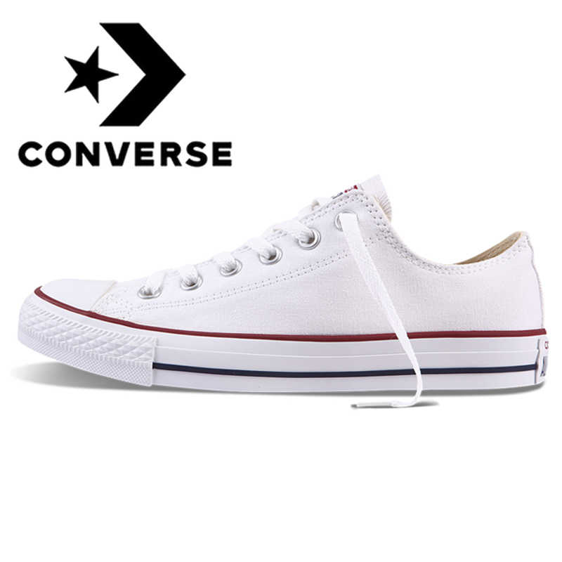 Originale Autentico Converse ALL STAR Classic Unisex Scarpe da pattini e skate Low-Top di Pizzo-up di Tela Resistente Calzature Bianco 101000
