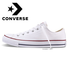 Asli Asli Converse ALL STAR Klasik Unisex Skateboarding Sepatu Low-Top Lace-Up Tahan Lama White 101000(China)
