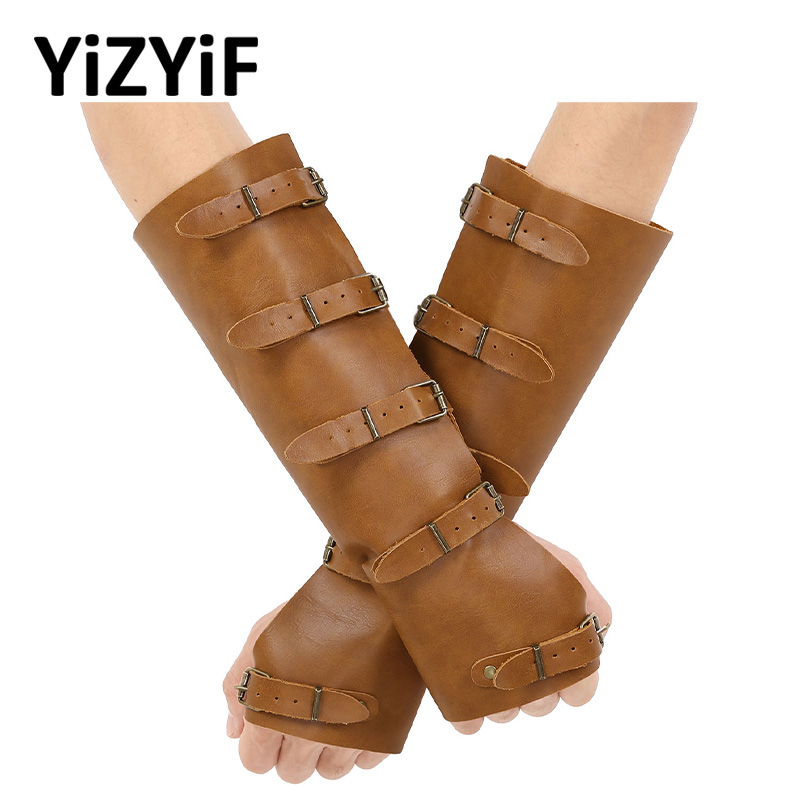 Punk Arm Armor Cuffs Faux Leather Adjustable Five Metal Buckles Gauntlet Wristband Wide Medieval Bracers Protective Armor Cuff
