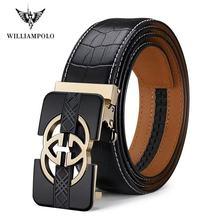 Ceinture en cuir véritable pour hommes, marque de luxe, bracelet en cuir véritable pour hommes, ceinture à boucle automatique #19509 12P
