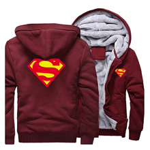 2019 חורף גברים של נים סופרמן סווטשירט איכות צמר חם גברים Streetwear מעיל מכירה לוהטת עבה מעיל גבר מזדמן בגדים