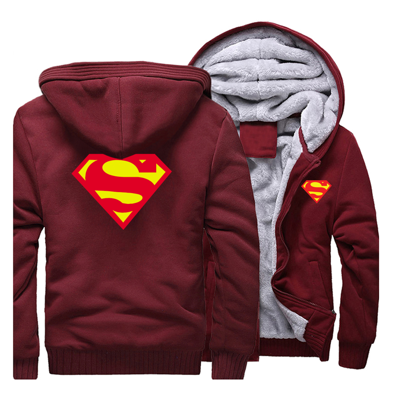 2019 Winter Men's Hoodies Superman Sweatshirt Quality Fleece Warm Streetwear Men Jacket Hot Sale Thick Coat Casual Man Clothing
