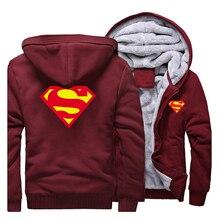 2019 kış erkek Hoodies Superman kazak kaliteli polar sıcak Streetwear erkek ceket sıcak satış kalın ceket rahat erkek giyim