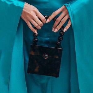 Image 5 - Okno akrylowe wieczorowa kopertówka damska luksusowy wzór z kamieniem zroszony twarda torebka damska projektant zielona kopertówka nowość