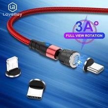 Lovebay 540 girar 3a cabo magnético do telefone móvel cabos de carregamento micro usb cabo usbc tipo c carregador para o iphone 12 carga fio