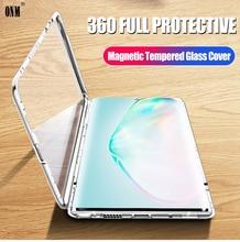 Samsung kılıfı Galaxy not 10 360 ° tam koruma manyetik kılıflar kapak için Galaxy Note 10 artı 5G Metal çift cam durumda