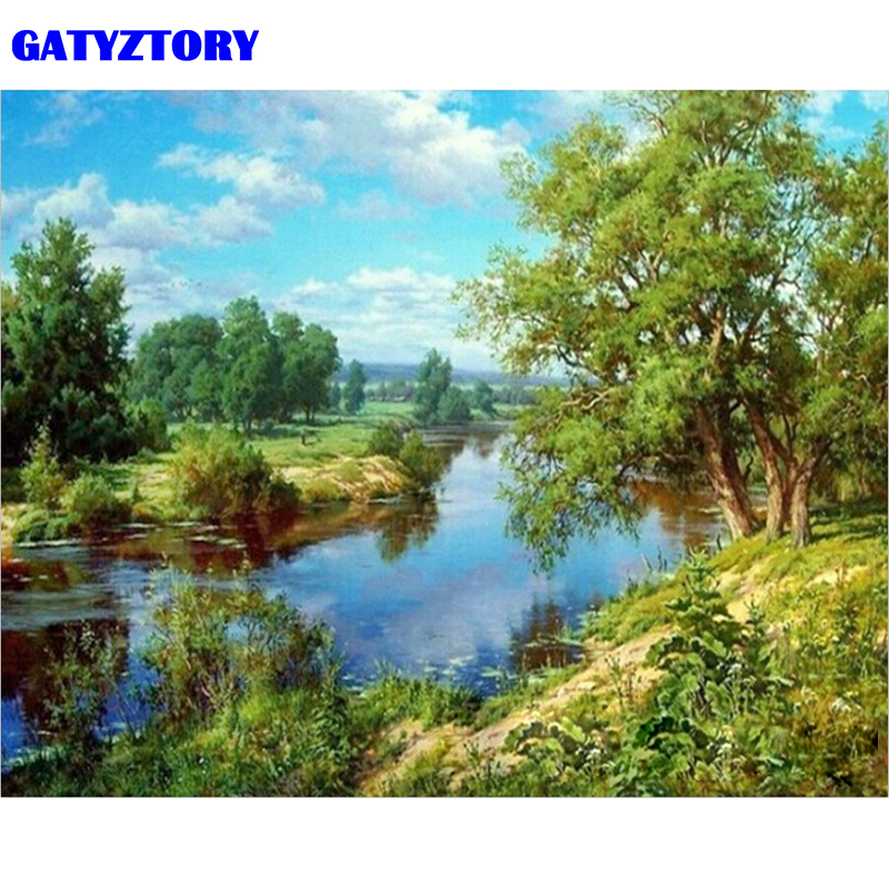 GATYZTORY Frame Green Lake DIY Painting By Number Handpainted Oil Painting Modern Wall Art Picture For Home Decor 40x50cm Gift
