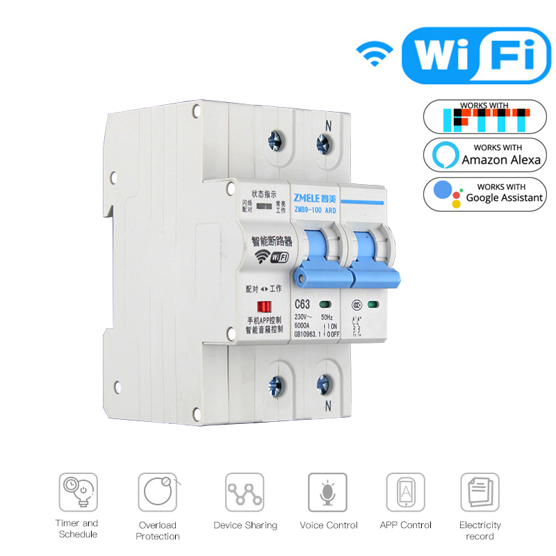 2P WiFi Smart Circuit Breaker Switch Smart Home Automation Overload Short Circuit Voice Control Work Amazon Alexa Google Home