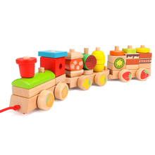 Wooden Toy Building-Block Number Puzzle Train-Shape Gift Early-Education Color Children's