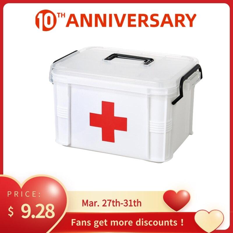 Pequeno kit de primeiros socorros doméstico caixa transparente grande capacidade em camadas caixa de armazenamento treliça lixo casa
