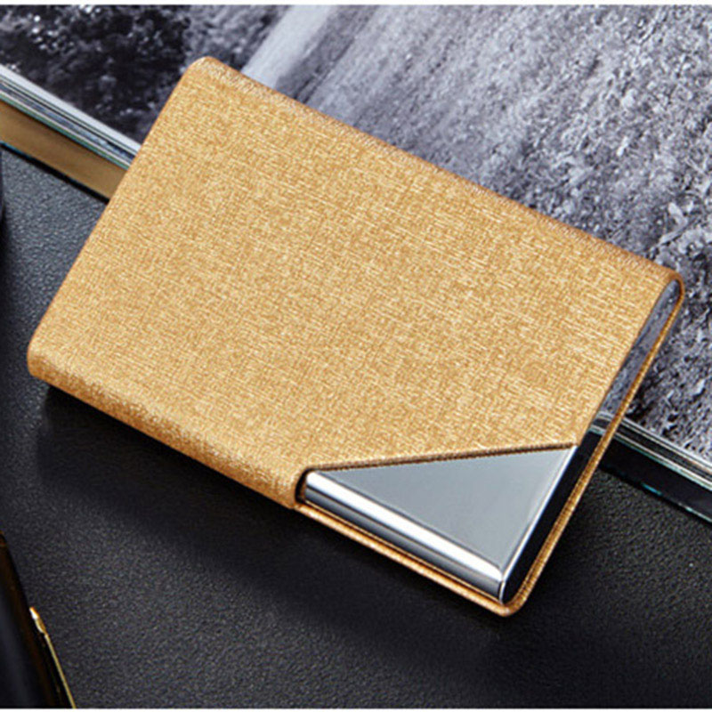 Business ID Credit Card Holder For Women Men Fashion Brand Metal Aluminum Card Case PU Leather Porte Carte Metal Card Box