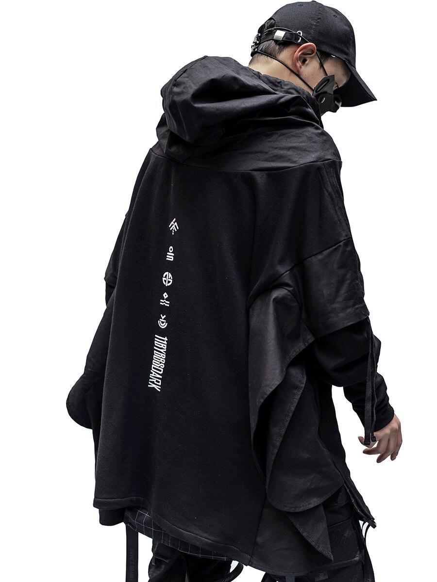 Techwear толстовка мужские черные в стиле панк, готика косплэй Японская уличная одежда костюмы