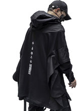 Techwear hoodie masculino preto gótico cosplay japonês streetwear vestuário