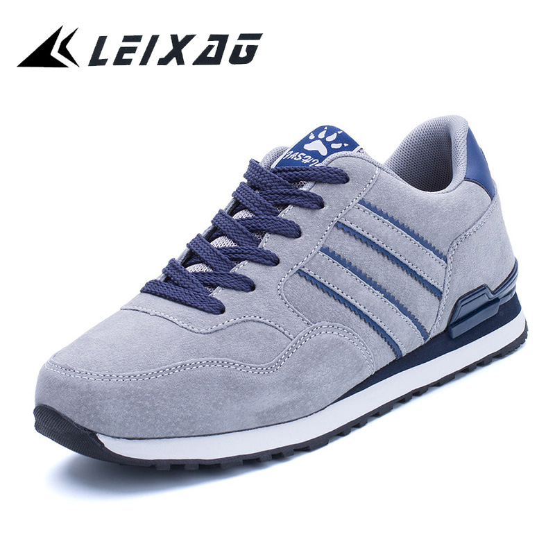 LEIXAG Men Running Sport Shoes Sue Leather Athletic Shoes With Fur Jogging Sneakers Outdoor Walking Shoes Men Trainning Shoes