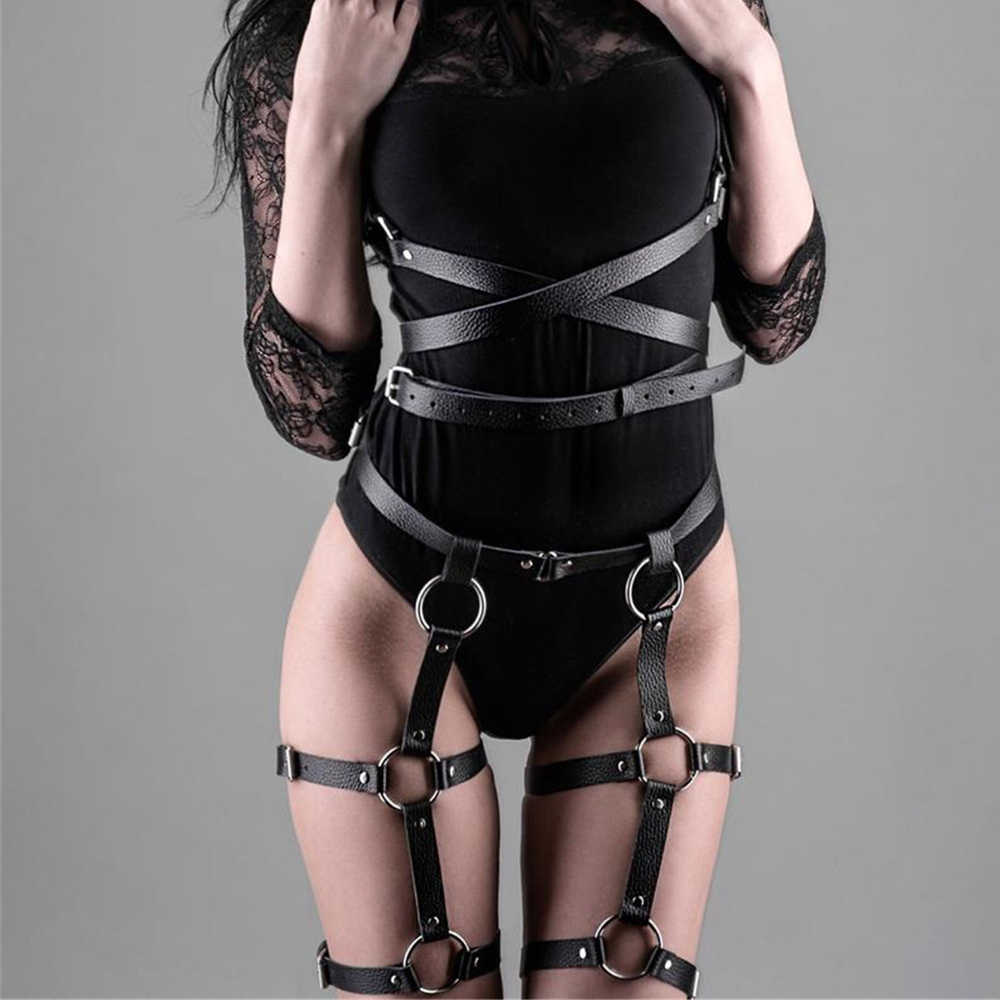 Women Harness Body Belts Sexy Garters Bondage Belt Punk Gothic Fetish Bdsm Bondage Sexy Suit High Waist Suspender Lingerie Crop