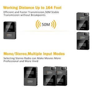 Image 5 - Comica boomx d2 profissional mini 2.4g microfone sem fio digital com mono/estéreo modos de saída comutável para câmera