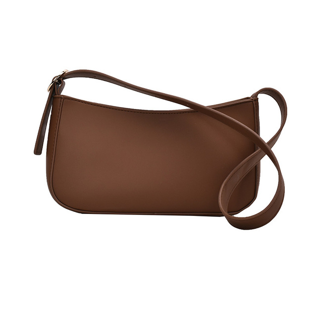 Cute Solid Color Small PU Leather Shoulder Bags For Women 2021 Summer Simple Handbags And Purses Female Travel Totes 6