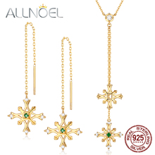 ALLNOEL Natural Emerald Gemstone Fine Jewelry Sets For Women Necklace Earrings 100% Sterling Silver 925 Gold Wedding Gift
