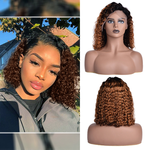 1B/30 Ombre Color Short Curly Lace Front Human Hair Wigs With Pre Plucked Deep Curly Brazilian Remy Baby Hair 13x4 Lace Bob Wigs(China)