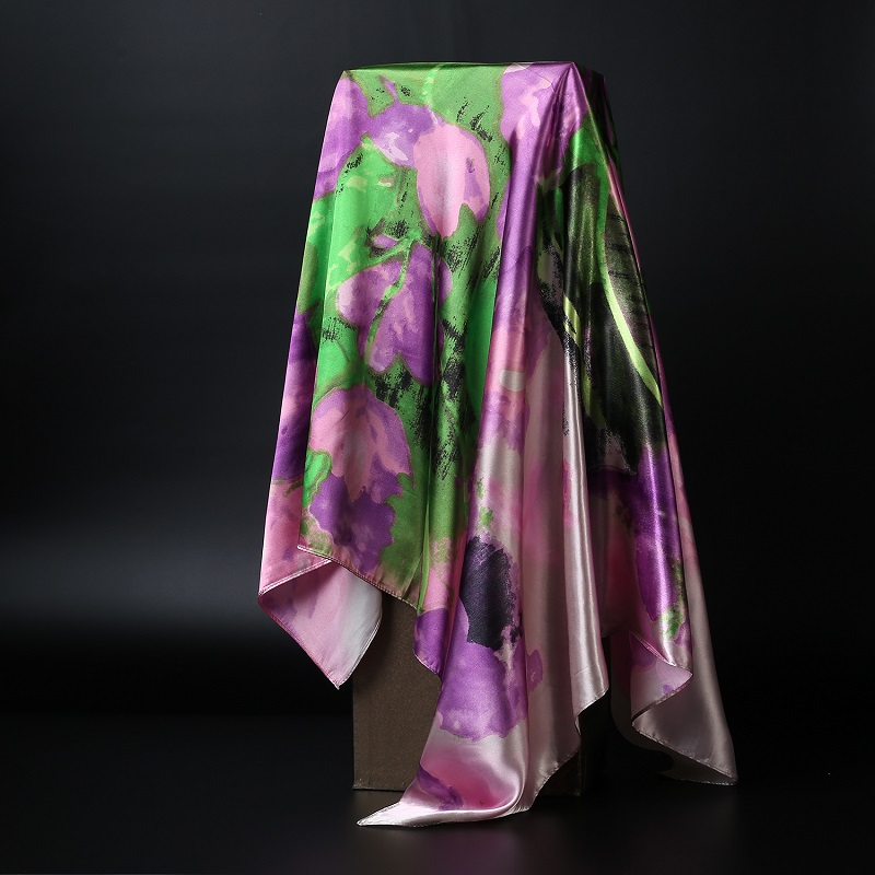 Fashion Print Scarves For Women Silk Satin Kerchief Head Scarf Female 90*90cm Square Shawls And Wraps Hijab Scarfs For Ladies
