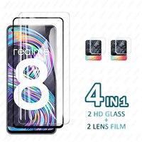 Protector de pantalla de vidrio templado para Oppo Realme 8, 7, 6 Pro, Realme 7i, 6i, lente de cámara, película de vidrio 5i Real Me, C21, C3