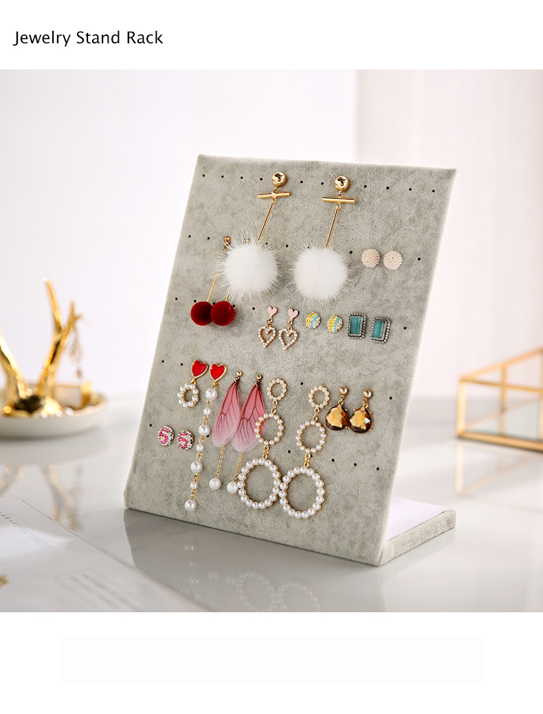 60 Holes L-type Suede Jewelry Stand Earrings Ear Studs Display Earring Holder Jewelry Display Rack Jewelry Organizer Fashion