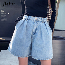 High-Waist Jeans Trousers Short Jielur Korean Feminino Solid-Color Summer Chic S-5XL