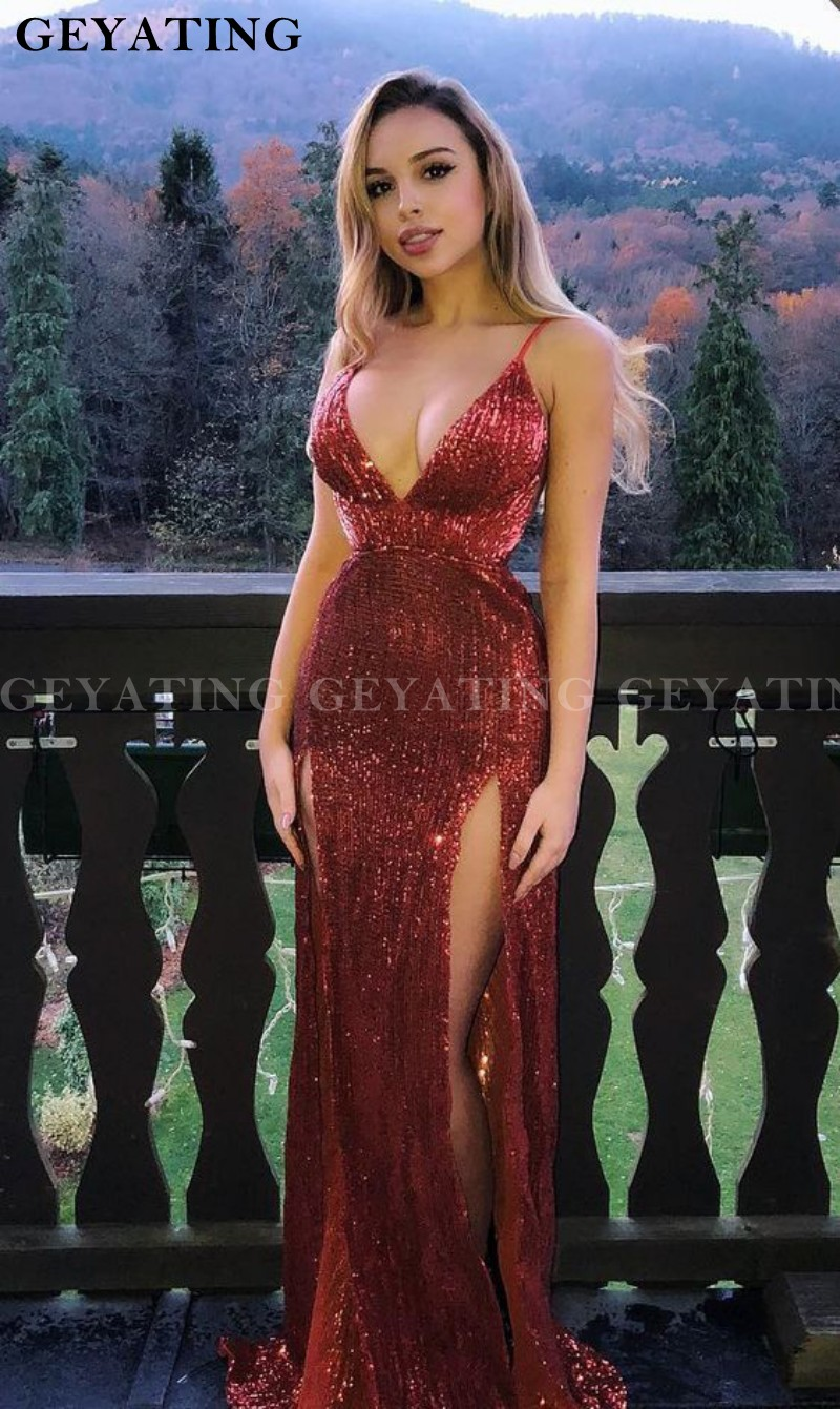 Burgundy Mermaid   Prom     Dresses   2019 Sexy Spaghetti Straps Side Split Party Gowns New Sparkly Sequined Backless Evening   Dress