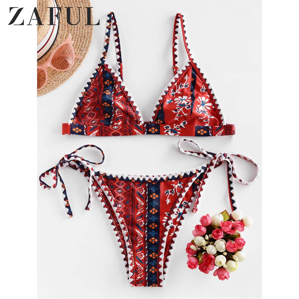 ZAFUL Vintage Boho Floral Whip Stitch Tie Side Bikini Swimwear Low Waisted Tie Side Two Pieces Swimsuit Spaghetti Straps Bikini