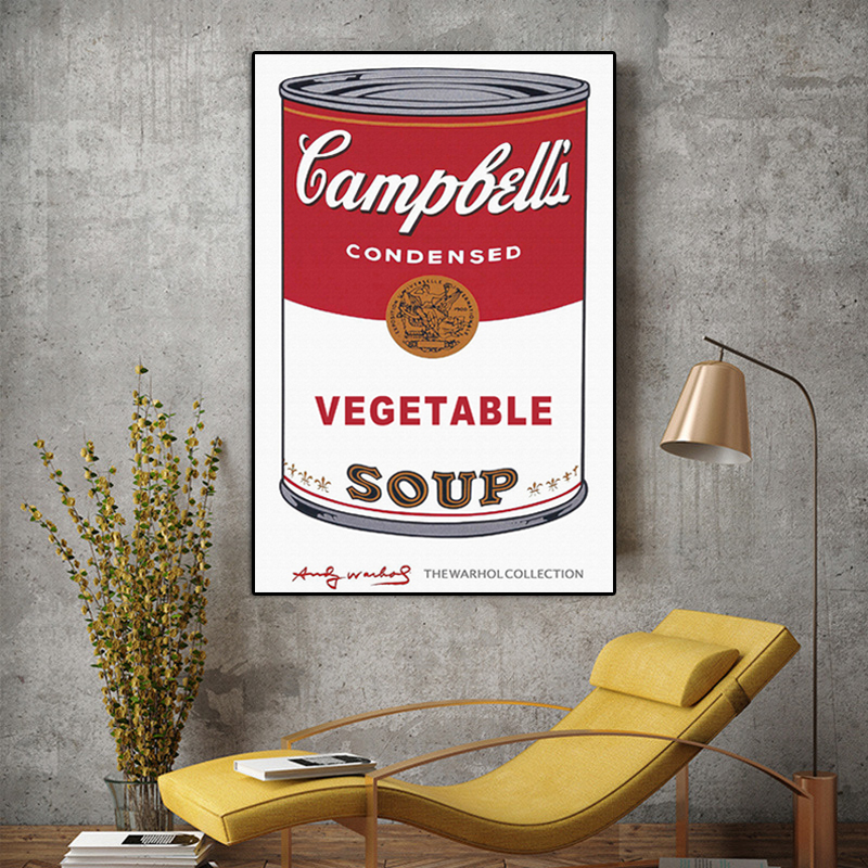 Modern Wall Art Andy Warhol VEGETABLE SOUP Pop Art Canvas Painting Abstract Decorative Art Wall Pictures For Living Room Quadro