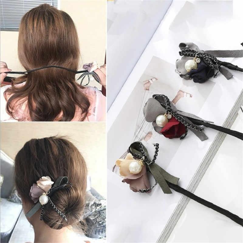 נשים פרח Donut Bun גדול פניני סרט DIY שיער סגנון ביצוע כלים קוריאני אופנה סגנון שיער Curler אבזרים