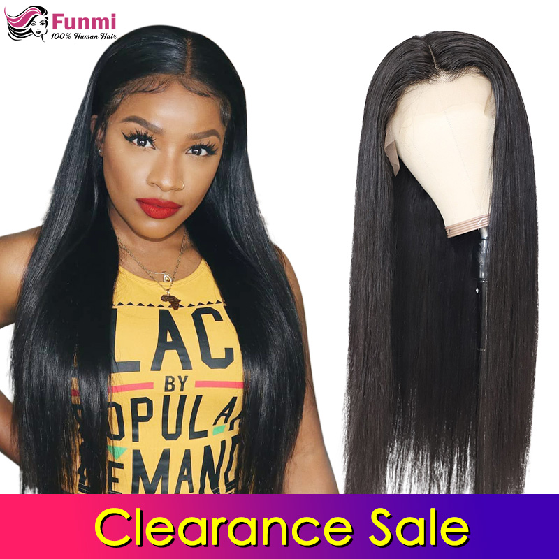 Funmi Hair 4x4 Lace Closure Wigs Human Hair Brazilian Straight Lace Wigs For Black Women Pre Plucked With Baby Hair 150 Density
