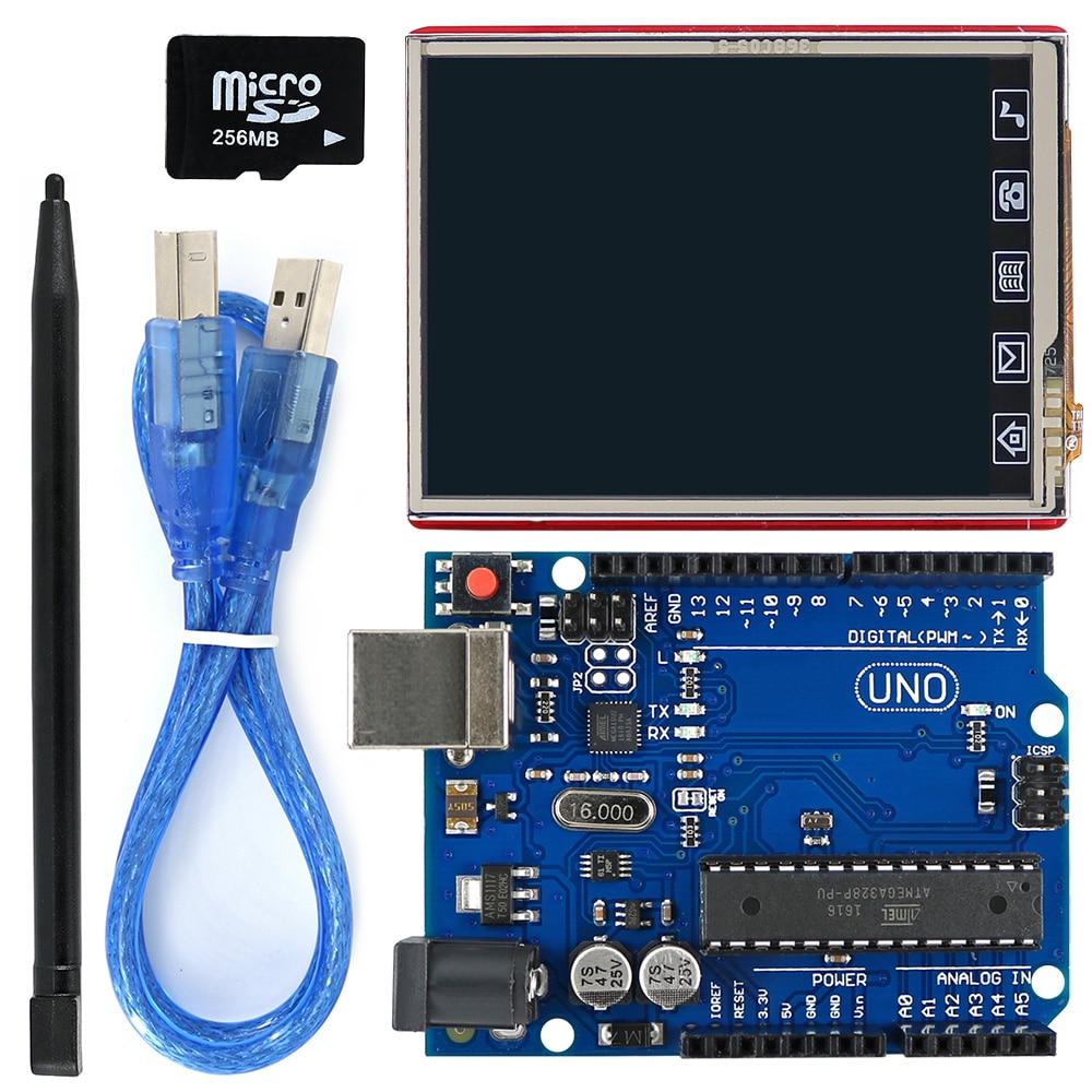 2.8 Inch TFT LCD Shield + UNO R3 Board With TF Card / Touch Pen / USB Cable For Arduino UNO / Mega2560 / Leonardo