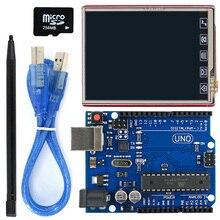 Bouclier LCD TFT de 2.8 pouces + UNO R3, panneau avec carte TF, stylo tactile/câble USB pour Arduino UNO / Mega2560 / Leonardo