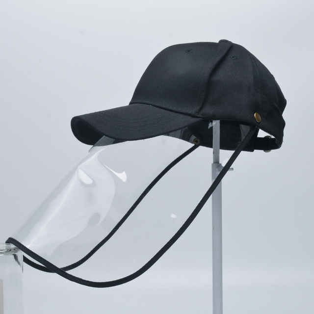Adult Protective Face Shield Bucket Hat Transparent Face Cover Block Saliva Droplets Anti-spitting Fisherman Cotton Sun Cap 2