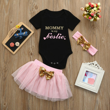 Toddler Baby Girl Summer Clothing Sets Baby Girls Clothes Letter Print Shirt Top +Tutu Skirts+Headband 3pcs Outfits Sets brilliant sequins burgundy lace petti romper dress headband newborn tutu sets baby girl summer clothes toddler girl clothing