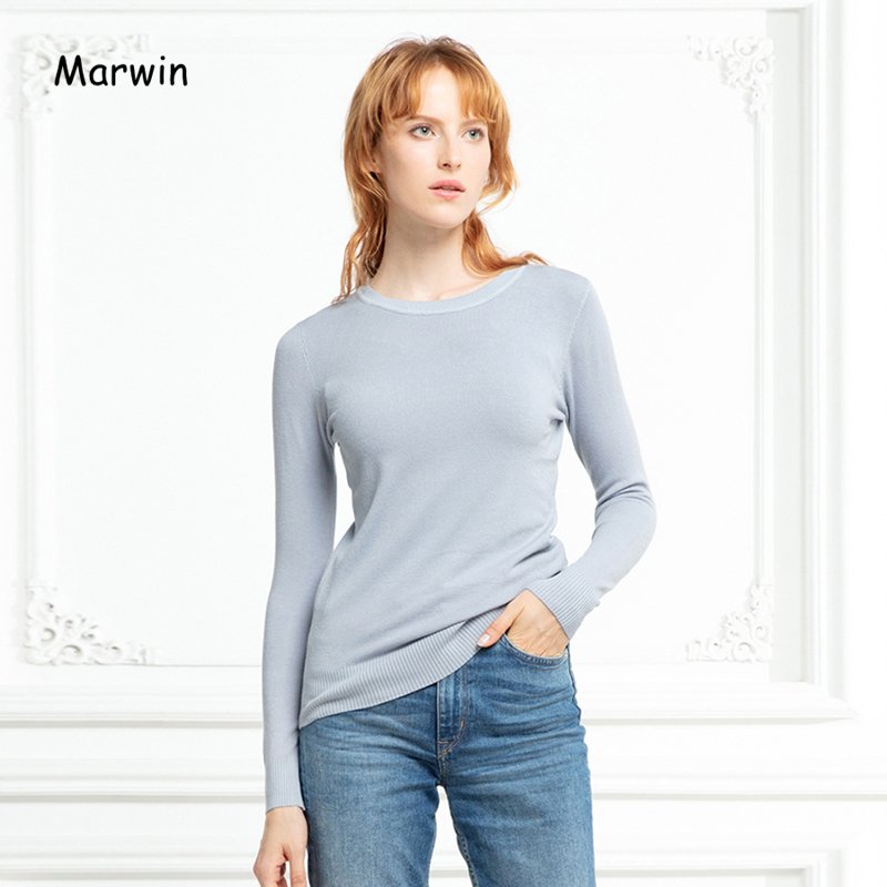 Marwin New-coming Autumn Winter Solid Soft Casual O-Neck Thin Women Pullovers High Quality Female Sweaters