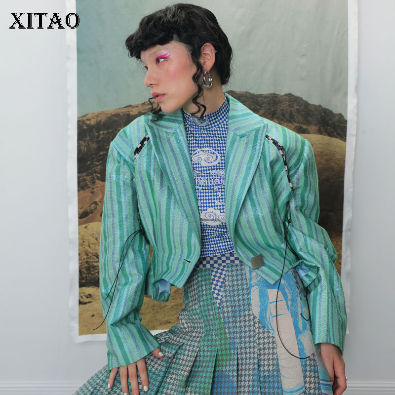 XITAO Pleated Ruched Drawstring Blazer Women Korea Fashion 2019 Autumn Vintage Hollow Out Casual Elegant Casual Coat ZYQ2011