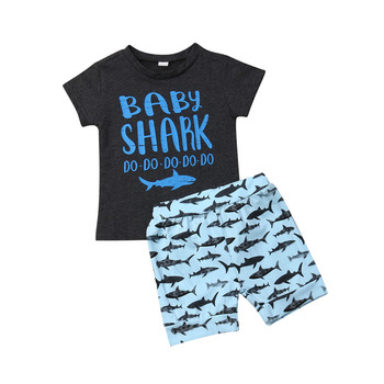 6M-4T Summer Baby Boy Clothes Set Shark Short Sleeve Tops T-Shirt+Short Pants 2Pcs Fashion Toddler Kid Boys Outfits 2pcs fashion toddler baby girls summer short sleeve tops t shirt denim hole roses floral dress skirt summer outfits clothes set