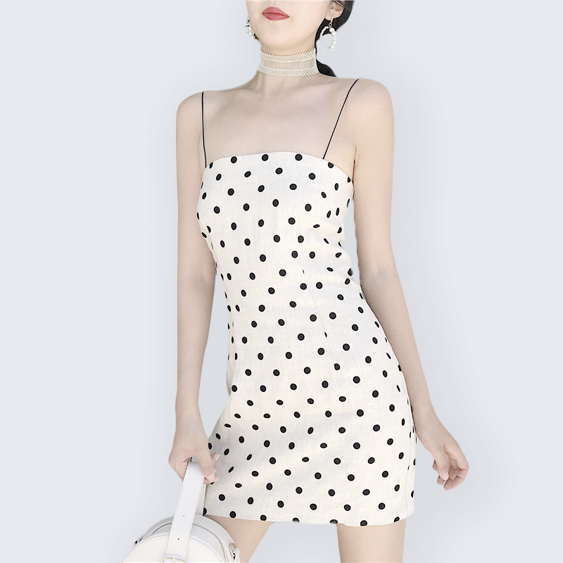 Skirt Summer Women's 2019 New Style Slim Fit Slimming Hipster Strapped Dress Tee Dress Retro Black And White Polkadot Dress