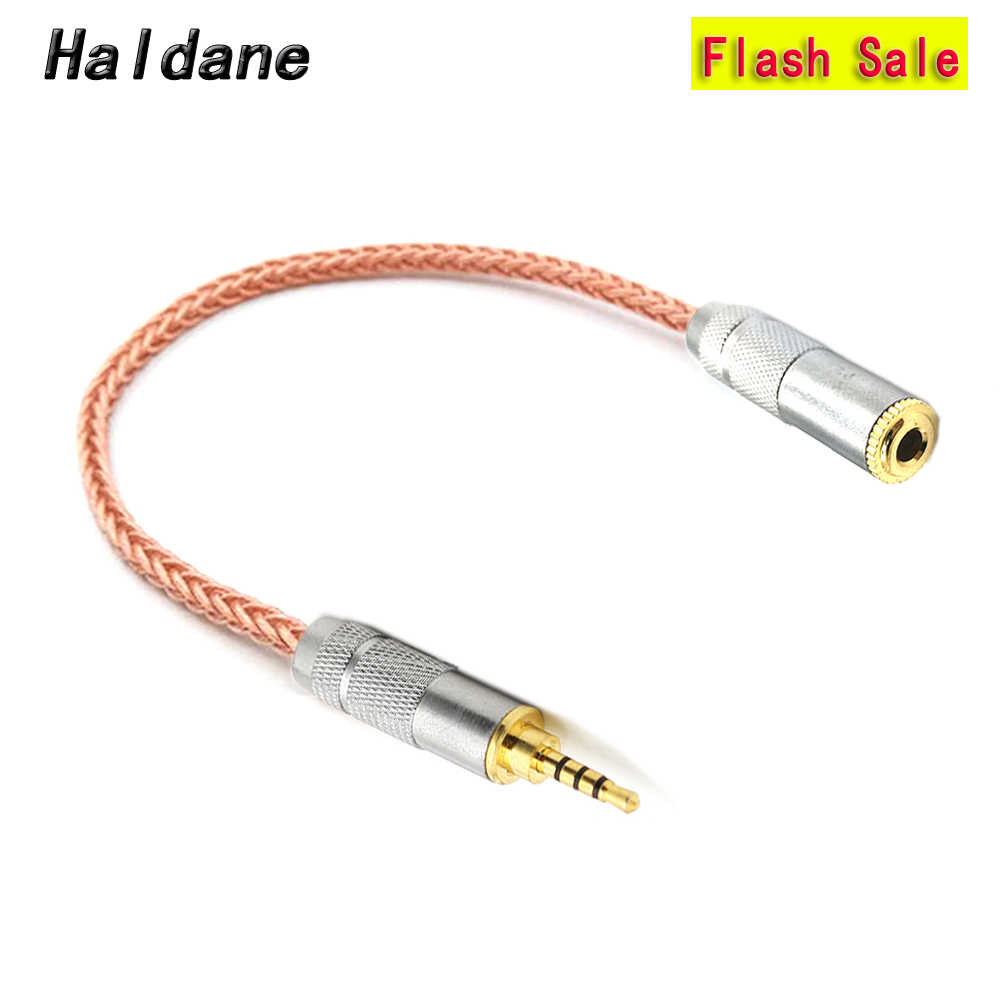 Haldane HI FI 10 Cm 7N Kristal Tunggal Tembaga 2.5 Mm Trrs Seimbang Male untuk 3.5 Mm Stereo Female Earphone Audio kabel Adaptor