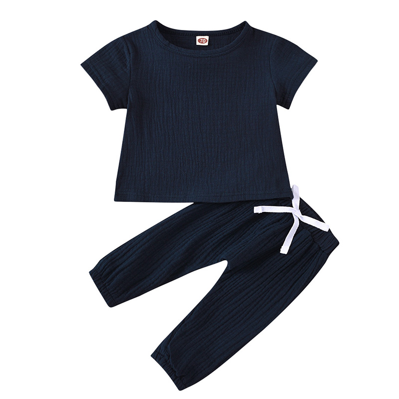Infant Baby Boys Girls Clothes Pure Color Cotton Linen Short Sleeve Tops+Pants Summer Toddler Baby Boys Girls Clothing Outfit 3