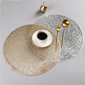 2019 New Gold Silvery Round Placemats Kitchen PVC Mats for Dining Tables Drink Coasters Set Coffee Cup Pad Hotel Restaurant(China)