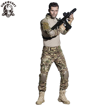 SINAIRSOFT Military Uniform Multicam Army Combat Shirt Tactical Pants With Knee Pads Camouflage Suit Hunting Clothes - discount item  41% OFF Hunting
