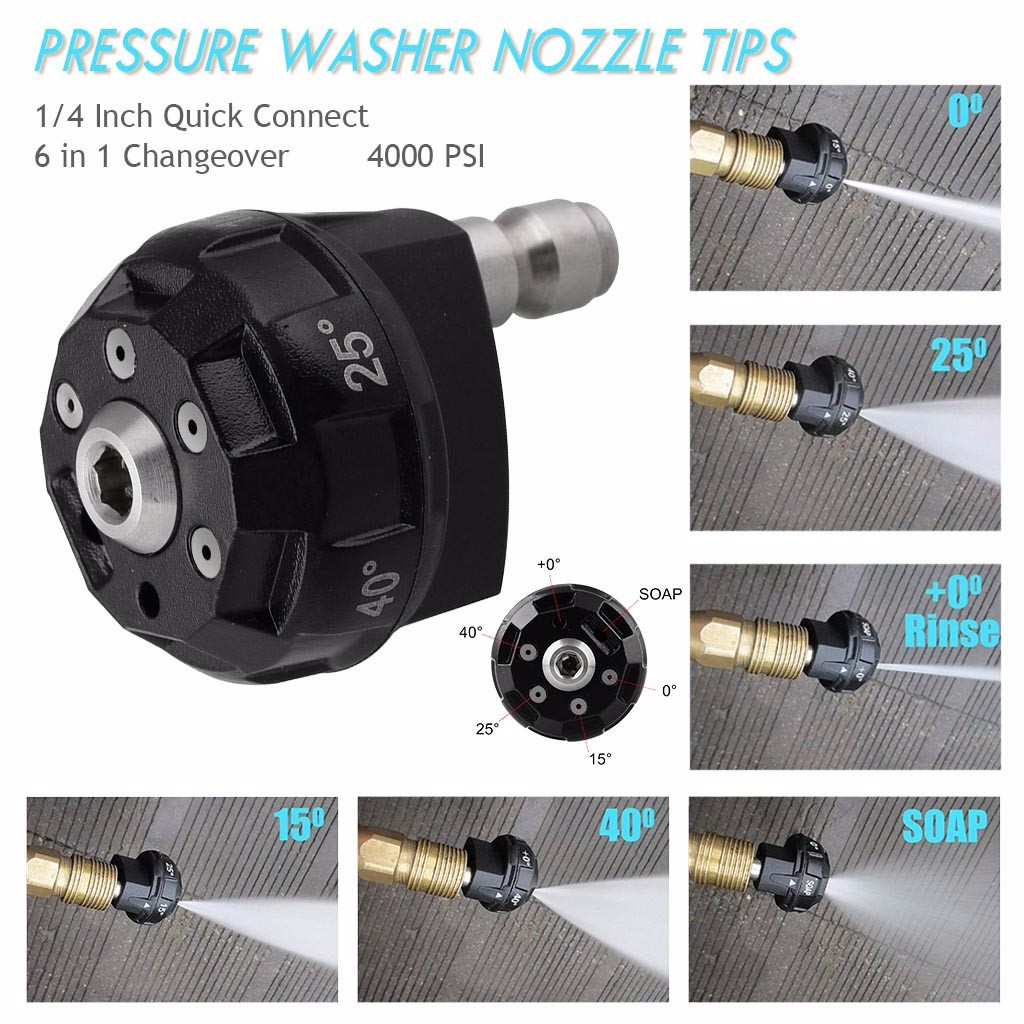 Pressure Washer Nozzle Tips 6 in 1 Changeover 1/4 Inch Quick Connect 4000 PSI suitable for most pressure washerss Dropship#35 Garden Water Guns     - title=